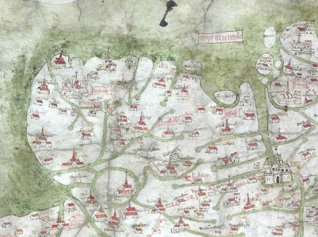 East Anglia in 1360 - a detail of the Medieval Gough Map