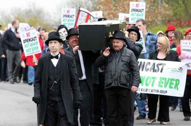 Demonstration against Nant Llseg opencast mine at Cearphilly Council offices 22nd April 2014