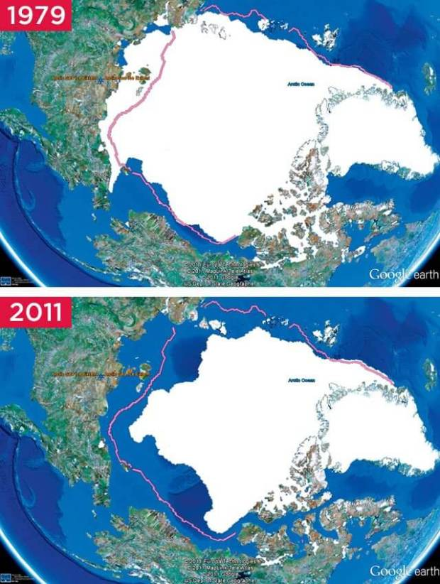Map illustrating the rapid shrinking of the area covered by Arctic sea ice over three decades
