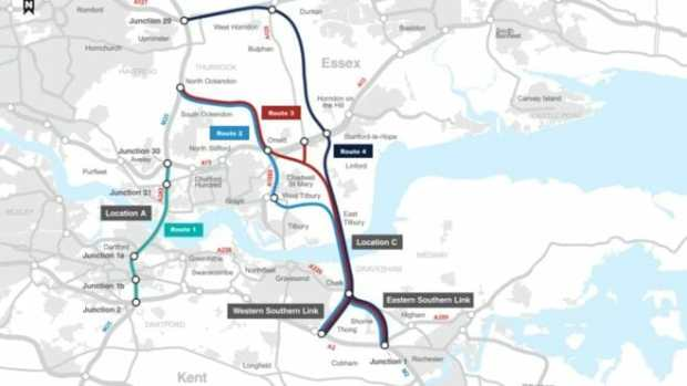 The proposed Lower Thames Crossing running between Kent and Essex