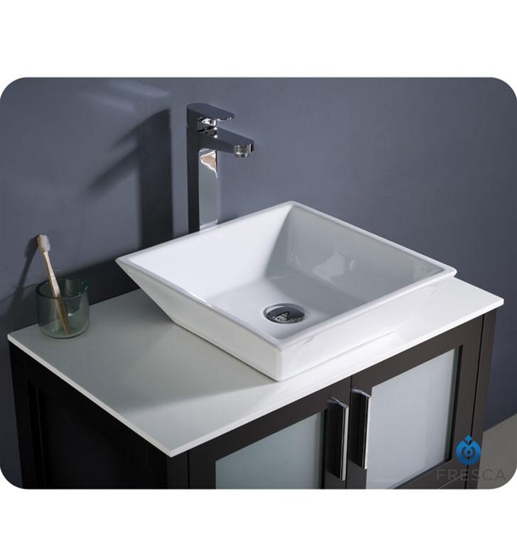 30″ Torino Espresso Modern Bathroom Vanity w/ Vessel Sink ...