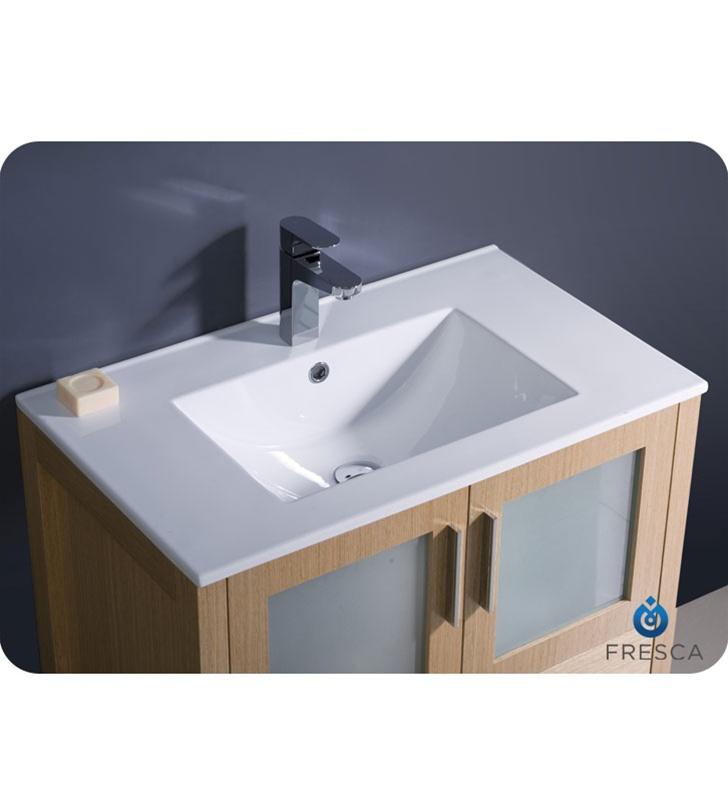 30″ Torino Light Oak Modern Bathroom Vanity w/ Integrated ...