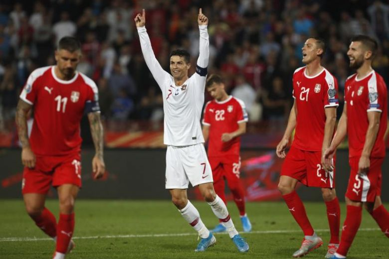 Portugal got their Euro 2020 qualifying campaign back on track with goals from William Carvalho Goncalo Guedes Cristian Ronaldo and Bernardo Silva in a pulsating 4 2 victory in Belgrade on Saturday. - Serbia handed stadium ban for fans' racist behaviour in Euro qualifier