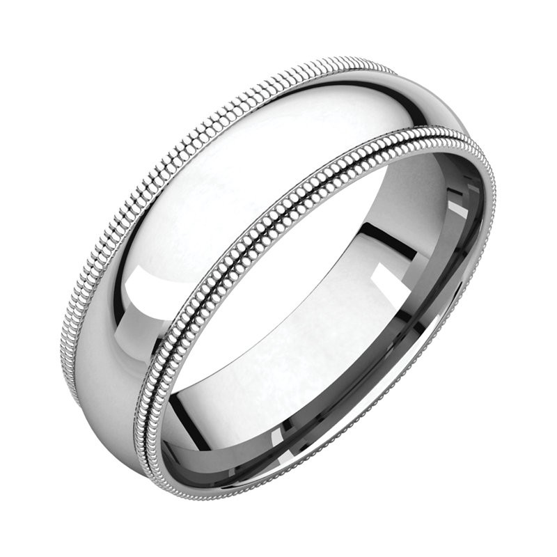 Platinum 6mm Double Milgrain Wedding Bands