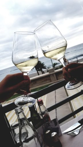 Toasting some Albariño in the Canary Islands.