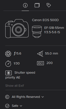 Check Exif on New Flickr Photo Experience