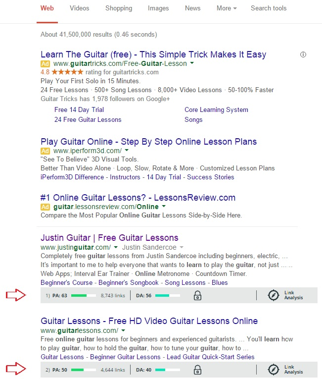 Learn Guitar Online SERPs Screen
