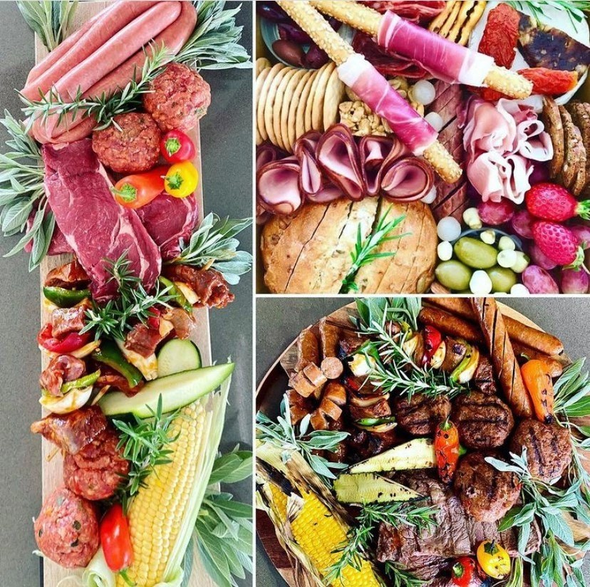 platters of meat and fruit