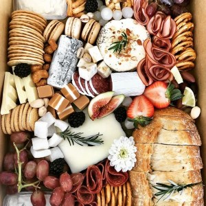 A platter with macaroons and salami