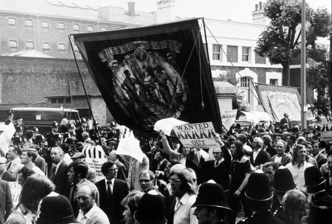 "After the arrest of five shop stewards (the ""Pentonville Five"") who disobeyed a court order to cease picketing, a series of strikes and protests swept Britain, culminating in the Trades Union Congress's call for a general strike in July, 1972."