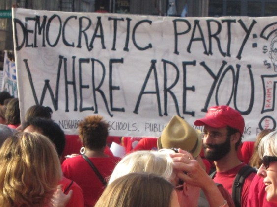 Striking members and supporters of the Chicago Teachers Union attempt to rally the US Democratic Party.