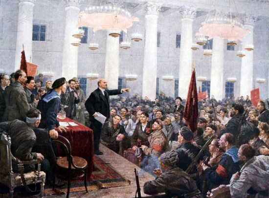 Lenin giving a speech to the deputies of the Second Soviet Congress in the Smolny Palace in St. Petersburg during the Russian Revolution, October 1917.
