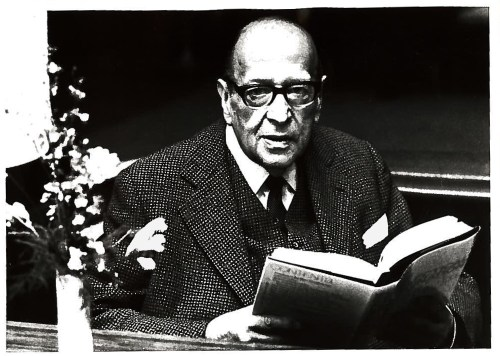 Horkheimer reading a copy of The Dialectical Imagination, just after it came out and shortly before his death.