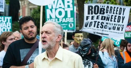 Jeremy Corbyn at an anti-austerity protest in London, 2015, where he receives the support from Stop the War Coalition.