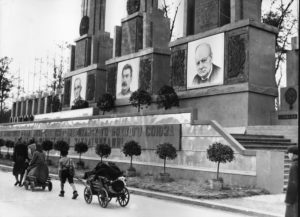 "A monument was hastily erected following the Soviet victory in the Battle of Berlin. The adjoining text reads, ""Long live the victory of the Anglo–Soviet–American alliance over the Nazi invaders."""