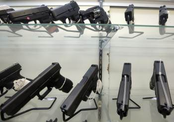 Shelves of guns