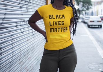 black woman in BLM tshirt
