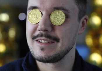 Coin on eyes like a dead president but they are bitcoins