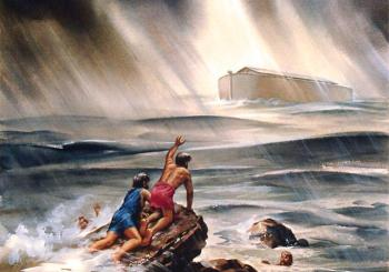 Noah's Ark during the flood with people dying