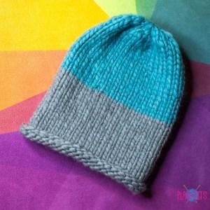 Серо-голубая толстая шапка 100% шерсть