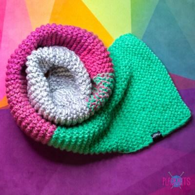 Толстый пастельный вязаный шарф в полоску