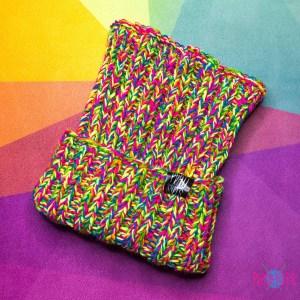 Дредошапка 34 см / Разноцветная вязаная шапка / повязка для дред