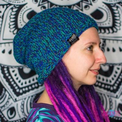 Сине-зелёная вязаная шапка мешок для дредов