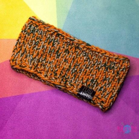 Дредошапка 11 см / Оранжево-чёрная вязаная повязка для дред