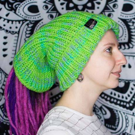 Дредошапка 37 см / Зелёно-салатная вязаная шапка / повязка для дред
