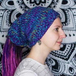 Фиолетово-жёлтая вязаная шапка / повязка для дред