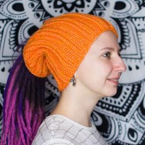 Оранжевая вязаная шапка / повязка для дред