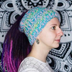 Пастельная вязаная шапка / повязка для дред