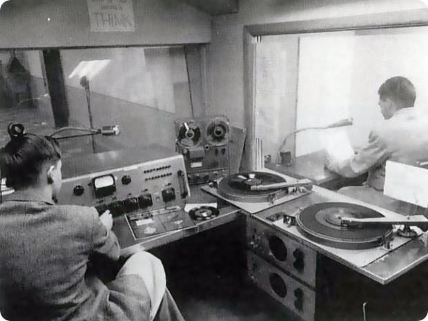 student radio studio circa 1955