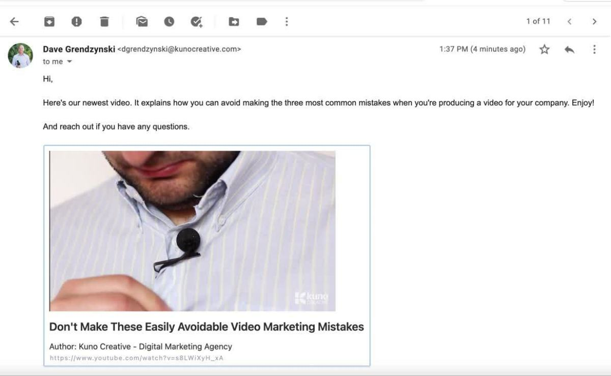 Putting YouTube Video In Email