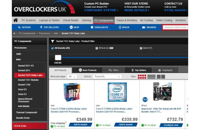 The new 7th Generation Intel Processors are Now Available at Overclockers UK!