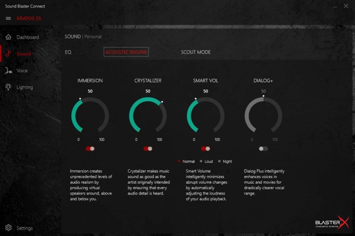 Sound Blaster BlasterX settings