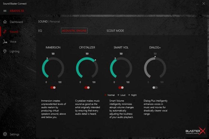 Sound Blaster BlasterX settings