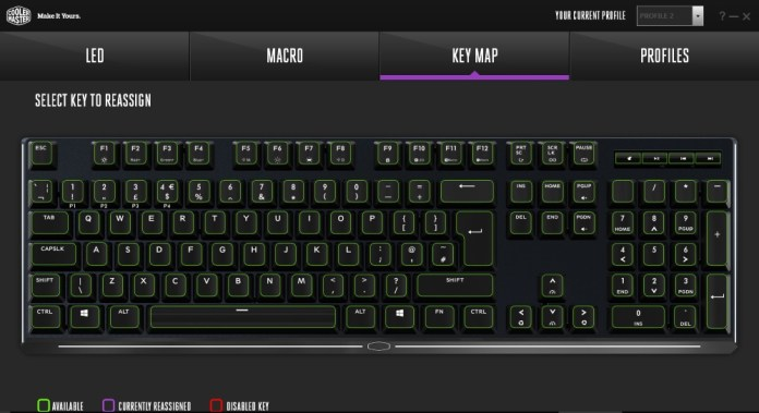 Masterkeys MK750 Key Map