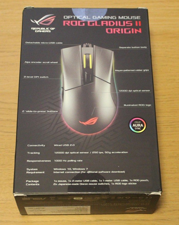 asus rog gladius II origin box bottom