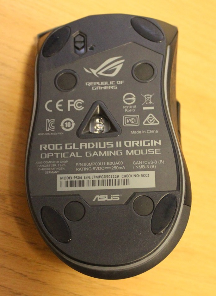 asus rog gladius II origin mouse bottom