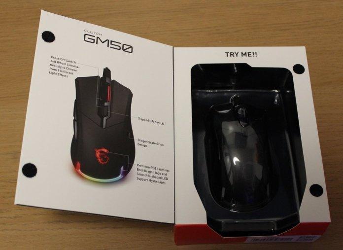 MSI Clutch GM50 Gaming Mouse box door