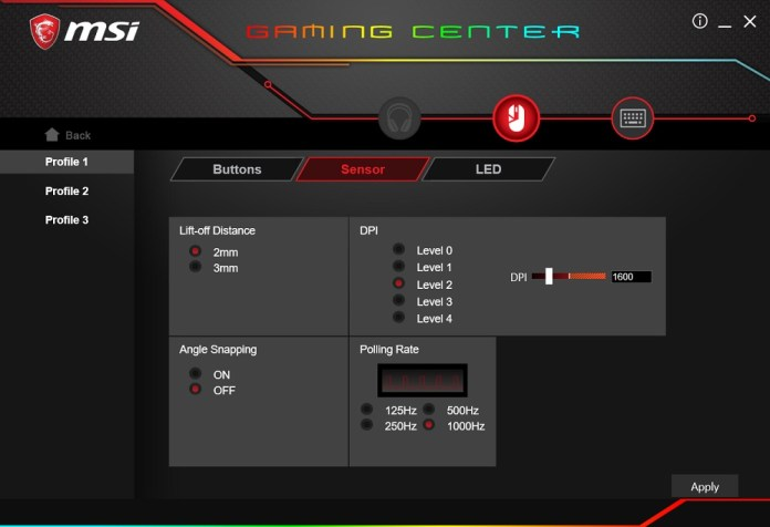 MSI Gaming Center GM50 sensor settings