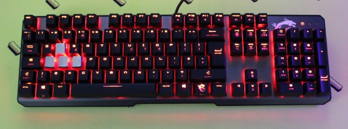 MSI Vigor GK60 Keyboard powered on