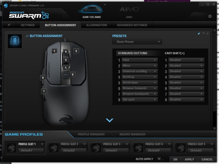 roccat kain 120 aimo swarm button assignment