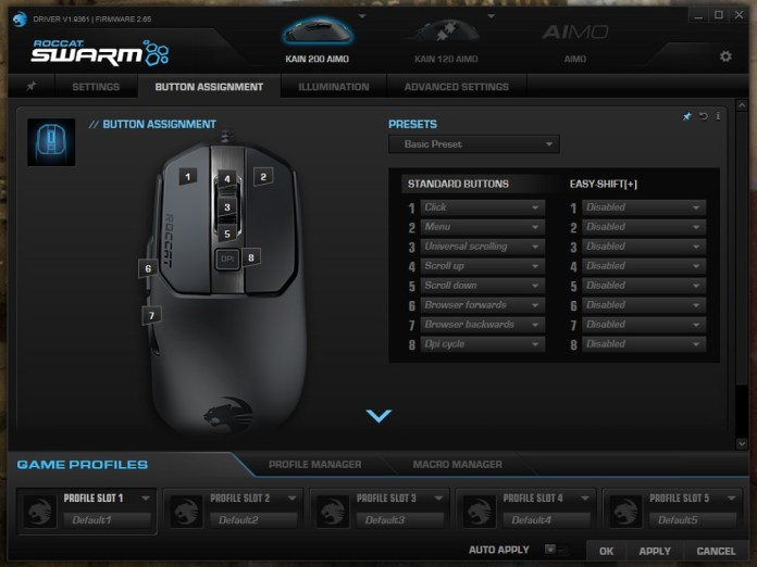 Roccat Swarm Aimo 200 button assignment