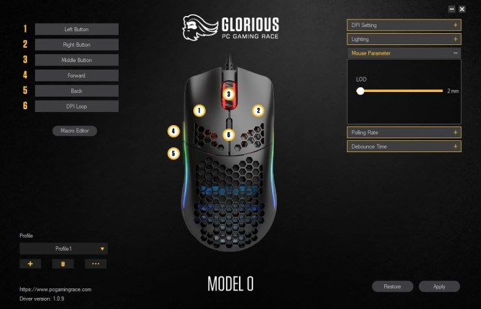 glorious pc gaming mouse model 0 sofware mouse parameter