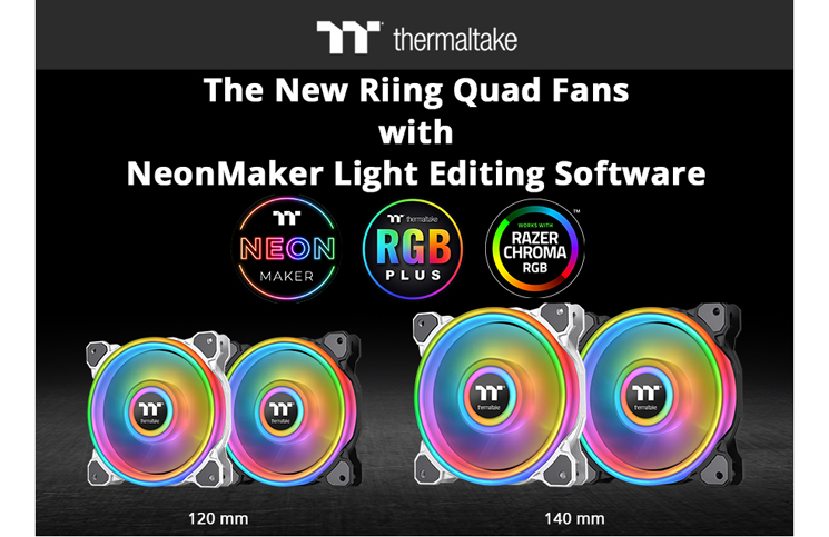 Thermaltake Release New Riing Quad Fans and NeonMaker Light Editing Software at CES 2020