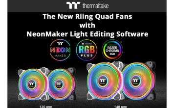 Thermaltake Riing Quad 1214 Black and White Radiator Fans and NeonMaker Light Editing Software Feature