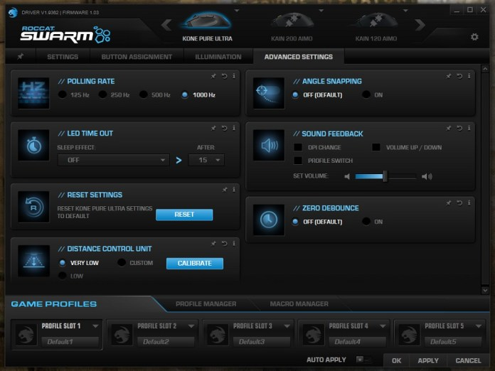 Roccat Kone Pure Ultra Swarm advanced settings