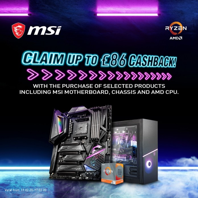 Image highlighting MSI's cashback offer with the example of a Ryzen 9 CPU, X50 Godlike motherboard and MSI Sekira case